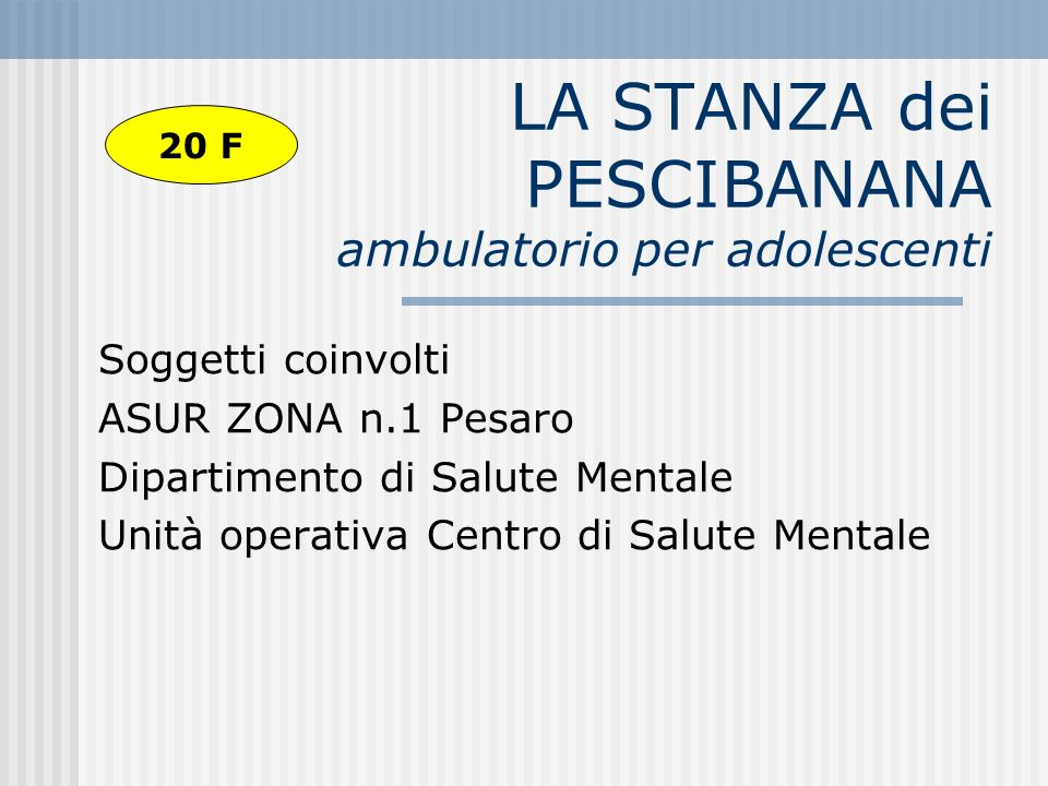 LA STANZA dei PESCIBANANA ambulatorio per adolescenti