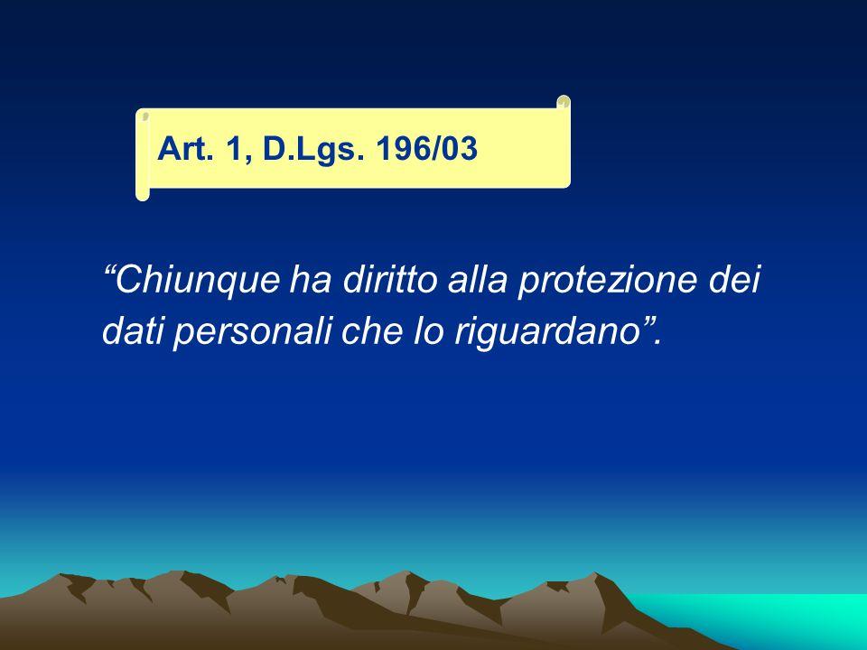 Art. 1, D.Lgs. 196/03 Chiunque ha diritto alla protezione dei dati personali che lo riguardano .