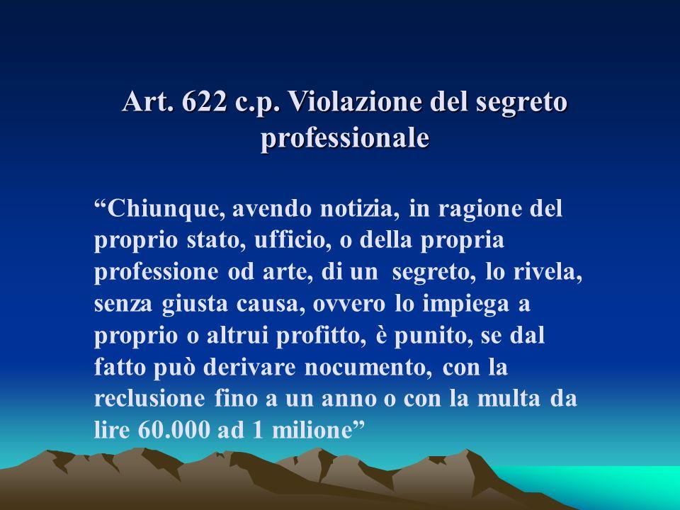 Art. 622 c.p. Violazione del segreto professionale