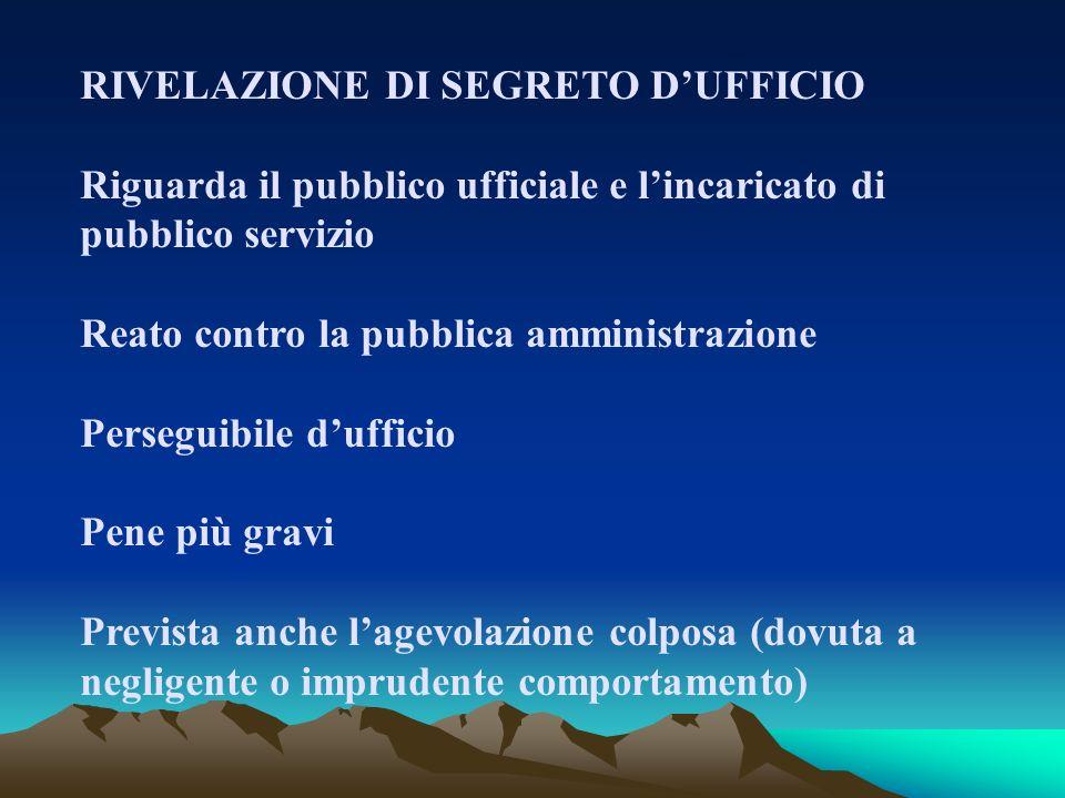 RIVELAZIONE DI SEGRETO D'UFFICIO