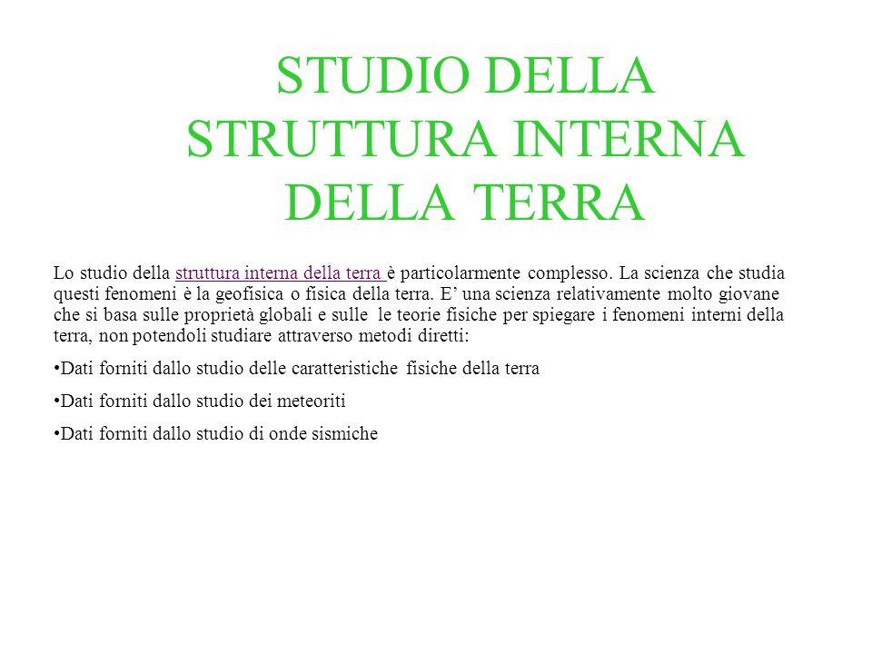 STUDIO DELLA STRUTTURA INTERNA DELLA TERRA