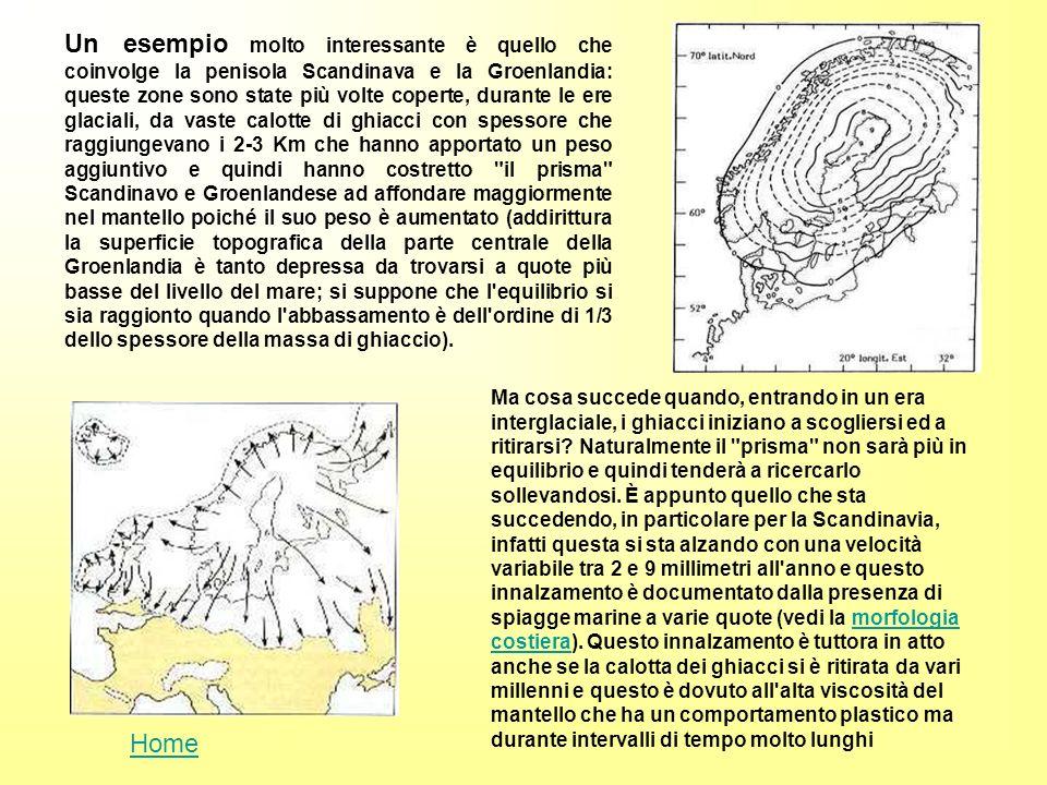 Un esempio molto interessante è quello che coinvolge la penisola Scandinava e la Groenlandia: queste zone sono state più volte coperte, durante le ere glaciali, da vaste calotte di ghiacci con spessore che raggiungevano i 2-3 Km che hanno apportato un peso aggiuntivo e quindi hanno costretto il prisma Scandinavo e Groenlandese ad affondare maggiormente nel mantello poiché il suo peso è aumentato (addirittura la superficie topografica della parte centrale della Groenlandia è tanto depressa da trovarsi a quote più basse del livello del mare; si suppone che l equilibrio si sia raggionto quando l abbassamento è dell ordine di 1/3 dello spessore della massa di ghiaccio).