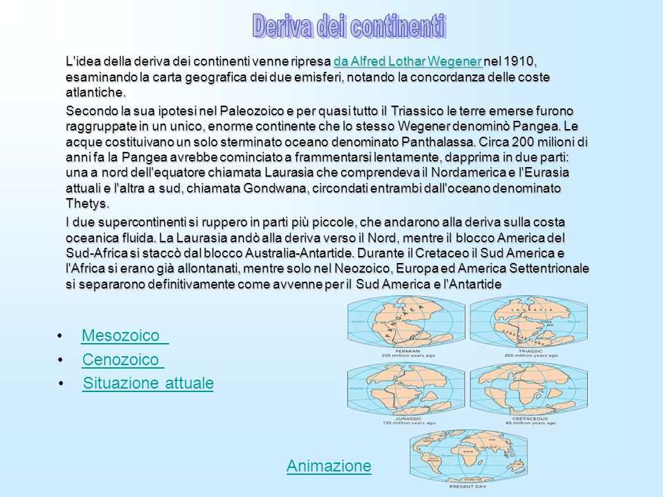 Deriva dei continenti Mesozoico Cenozoico Situazione attuale