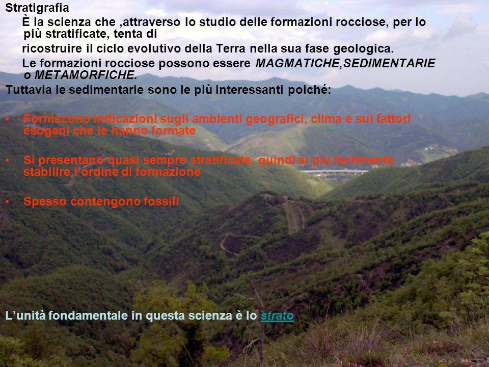 Stratigrafia È la scienza che ,attraverso lo studio delle formazioni rocciose, per lo più stratificate, tenta di.