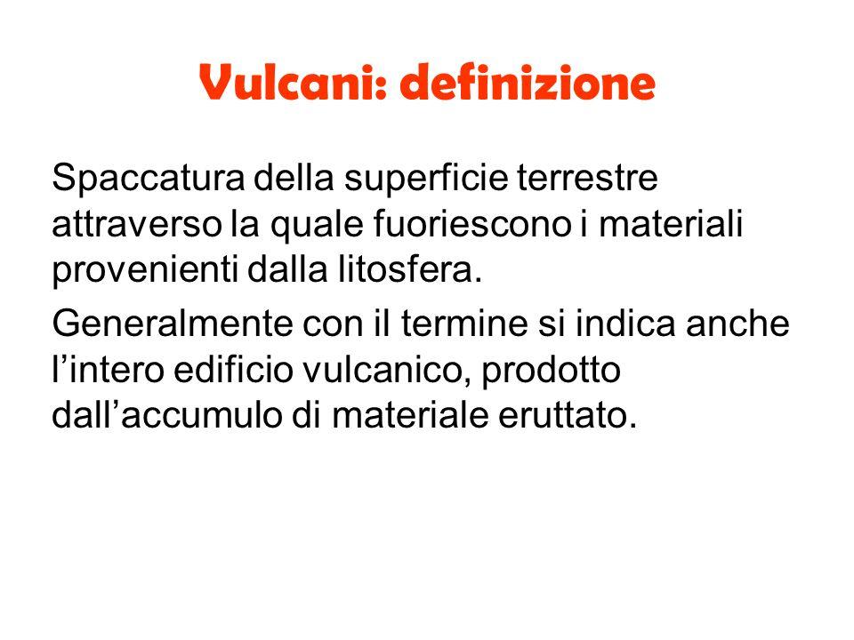 Vulcani: definizione Spaccatura della superficie terrestre attraverso la quale fuoriescono i materiali provenienti dalla litosfera.