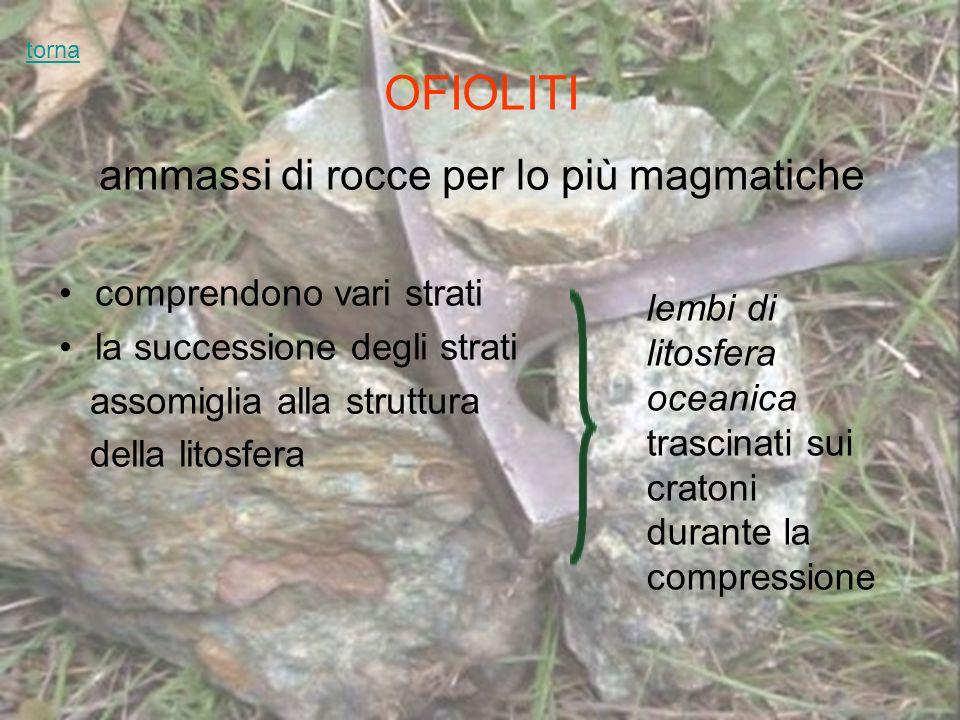 ammassi di rocce per lo più magmatiche