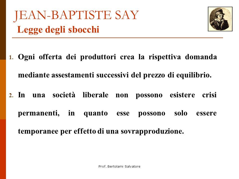 JEAN-BAPTISTE SAY Legge degli sbocchi