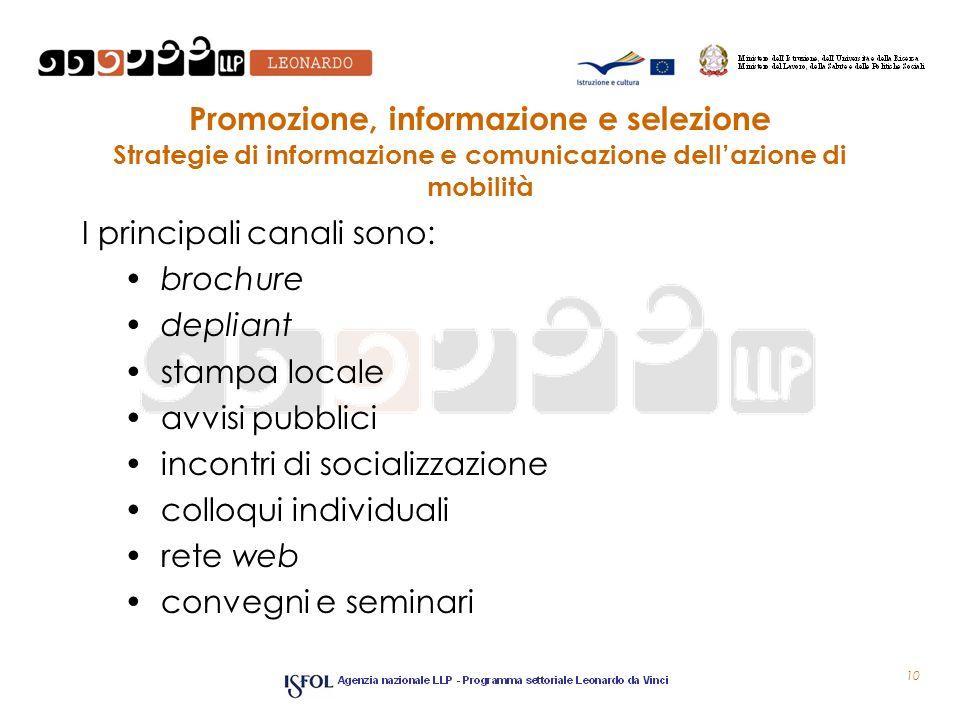 Promozione, informazione e selezione Strategie di informazione e comunicazione dell'azione di mobilità