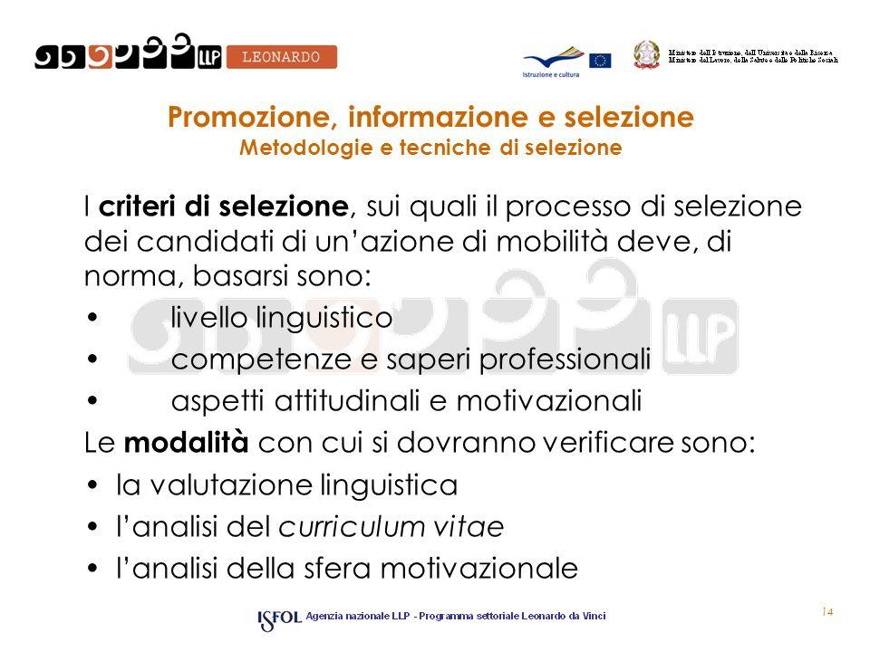 Promozione, informazione e selezione Metodologie e tecniche di selezione