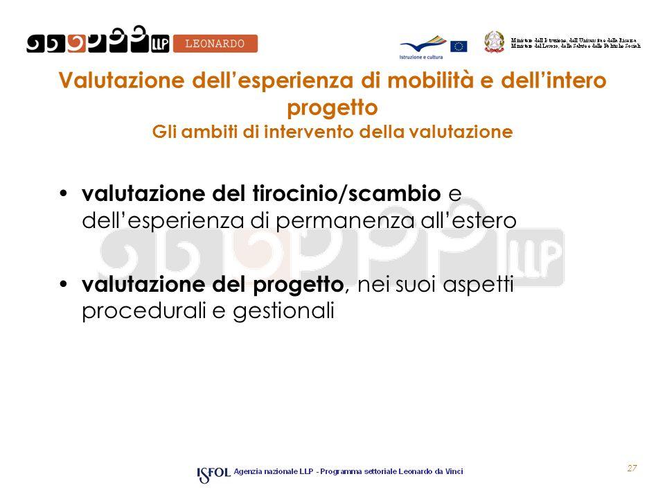 Valutazione dell'esperienza di mobilità e dell'intero progetto Gli ambiti di intervento della valutazione