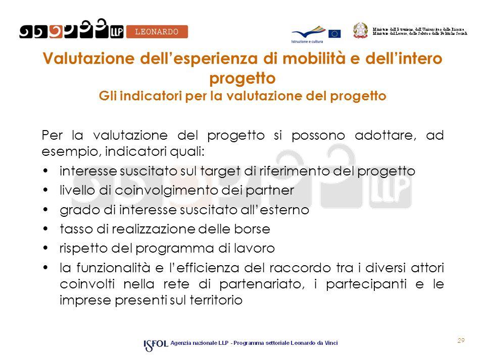 Valutazione dell'esperienza di mobilità e dell'intero progetto Gli indicatori per la valutazione del progetto