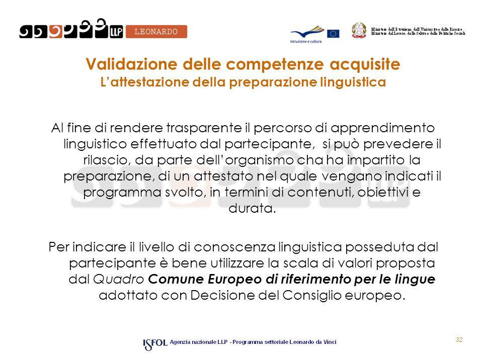 Validazione delle competenze acquisite L'attestazione della preparazione linguistica