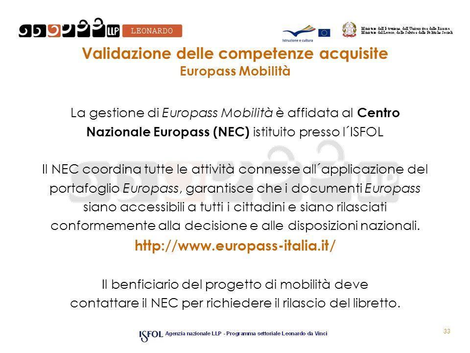 Validazione delle competenze acquisite Europass Mobilità