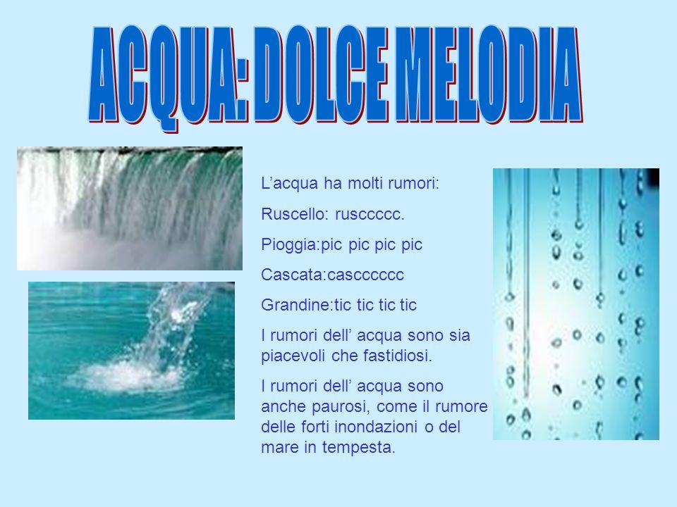 ACQUA: DOLCE MELODIA L'acqua ha molti rumori: Ruscello: rusccccc.