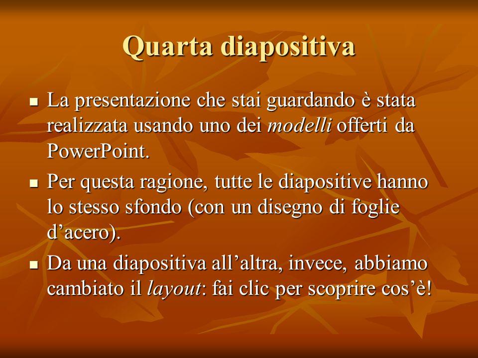 Quarta diapositivaLa presentazione che stai guardando è stata realizzata usando uno dei modelli offerti da PowerPoint.