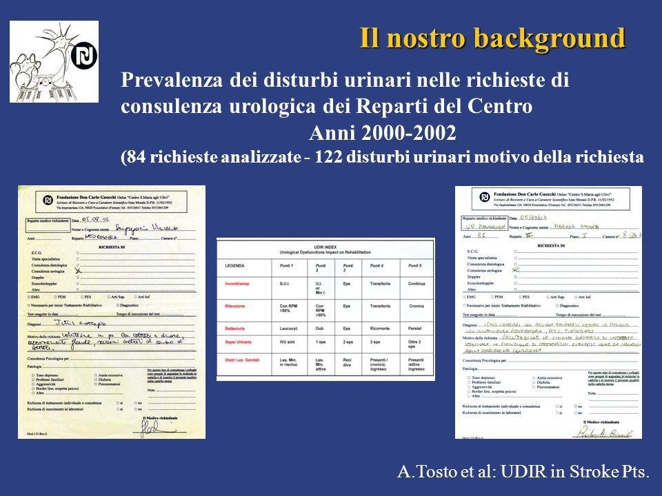Il nostro background Prevalenza dei disturbi urinari nelle richieste di consulenza urologica dei Reparti del Centro.