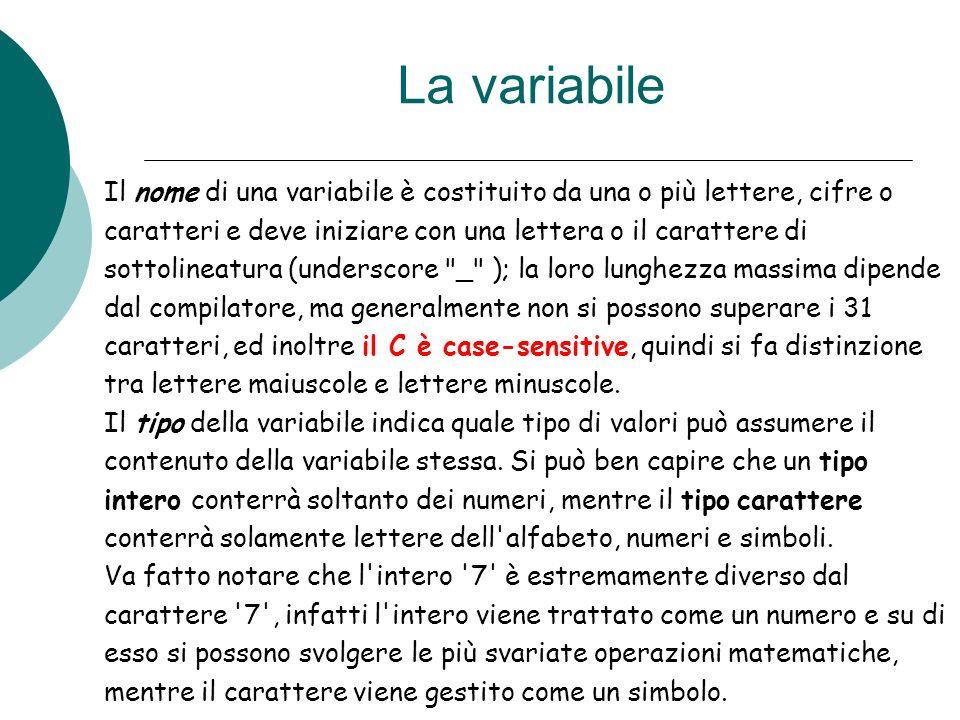 La variabile Il nome di una variabile è costituito da una o più lettere, cifre o. caratteri e deve iniziare con una lettera o il carattere di.