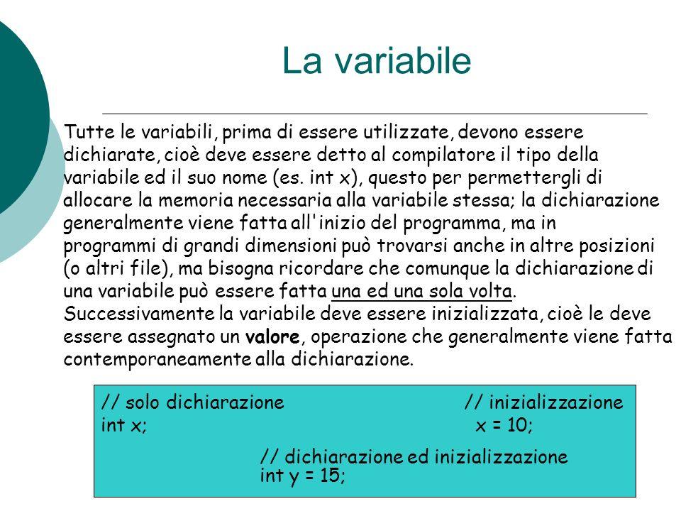 La variabile Tutte le variabili, prima di essere utilizzate, devono essere. dichiarate, cioè deve essere detto al compilatore il tipo della.