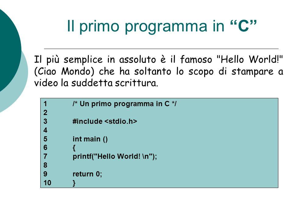 Il primo programma in C
