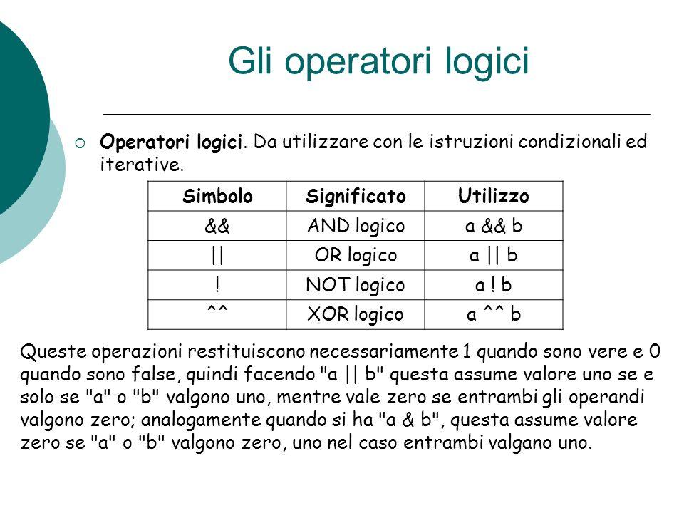 Gli operatori logici Operatori logici. Da utilizzare con le istruzioni condizionali ed iterative. Simbolo.