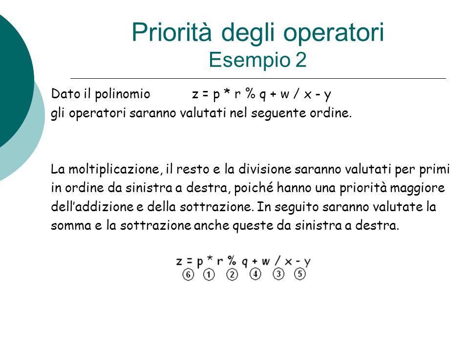 Priorità degli operatori Esempio 2