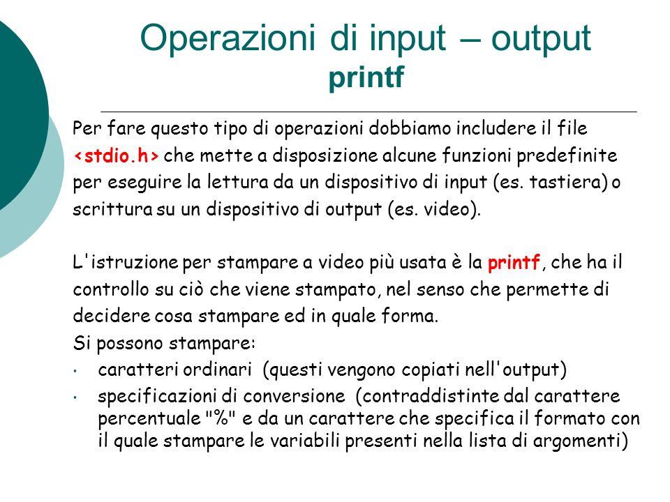 Operazioni di input – output printf