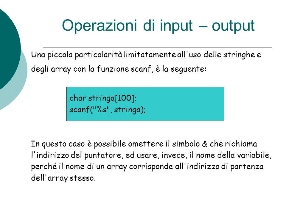 Operazioni di input – output