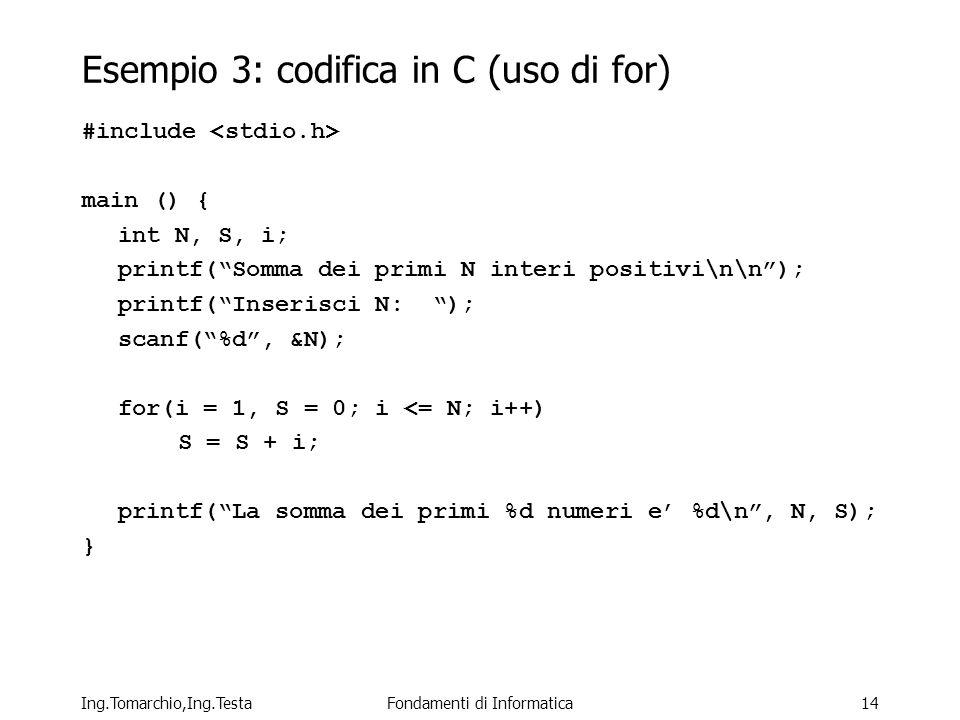 Esempio 3: codifica in C (uso di for)