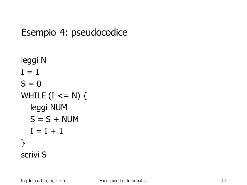 Esempio 4: pseudocodice