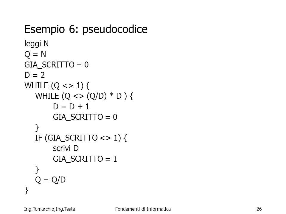 Esempio 6: pseudocodice