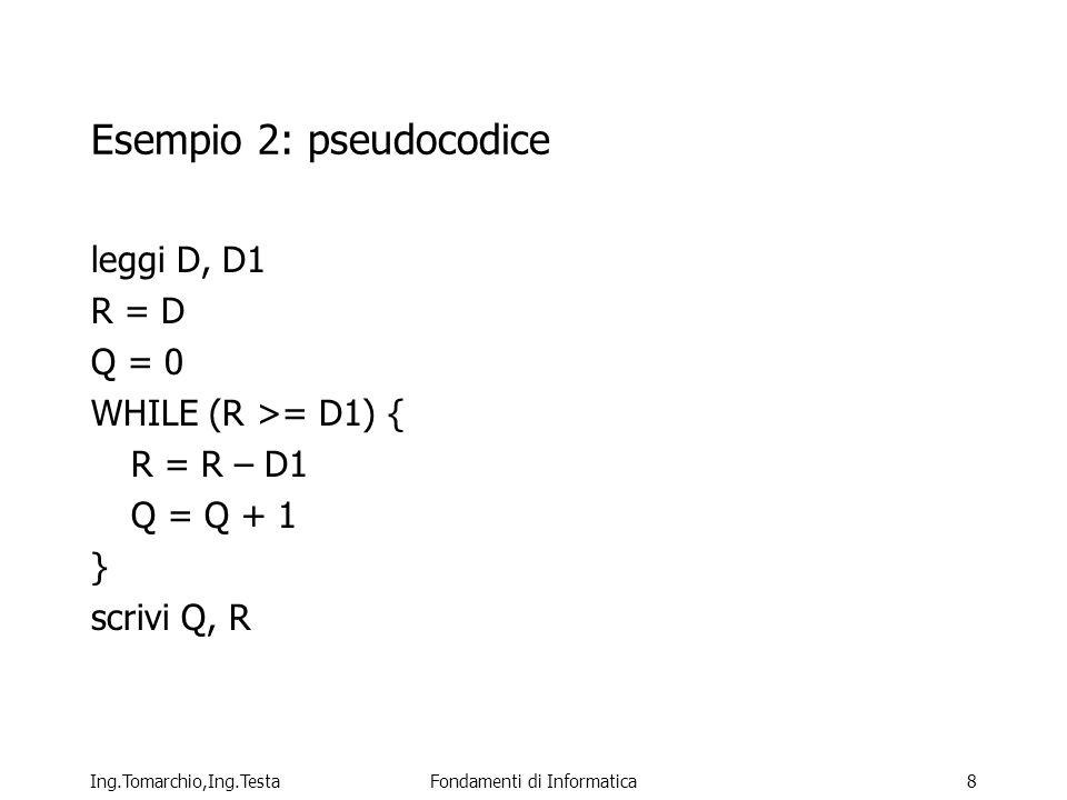 Esempio 2: pseudocodice