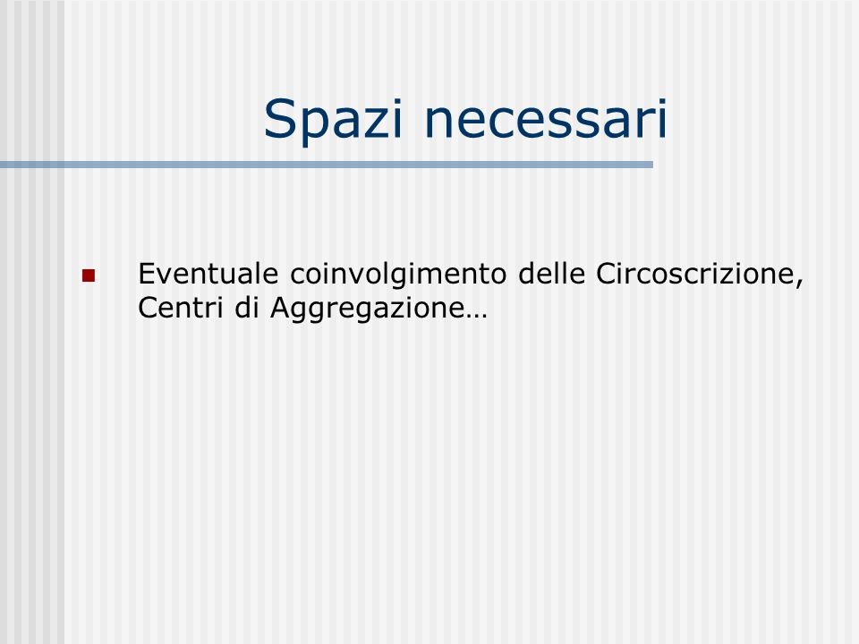 Spazi necessari Eventuale coinvolgimento delle Circoscrizione, Centri di Aggregazione…