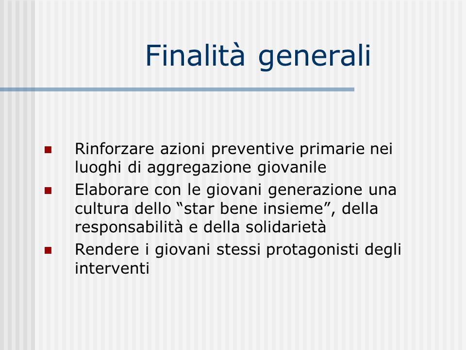 Finalità generali Rinforzare azioni preventive primarie nei luoghi di aggregazione giovanile.