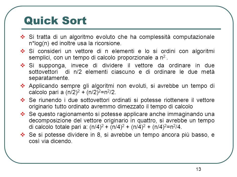 Quick Sort Si tratta di un algoritmo evoluto che ha complessità computazionale n*log(n) ed inoltre usa la ricorsione.