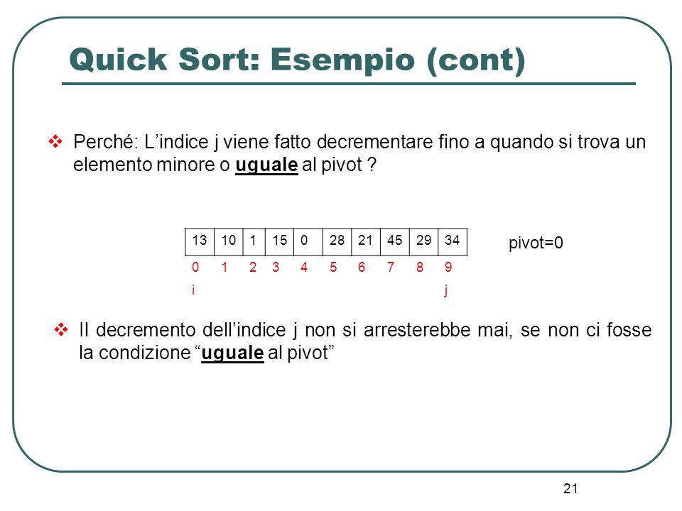 Quick Sort: Esempio (cont)