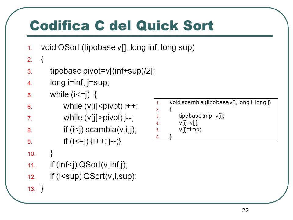 Codifica C del Quick Sort