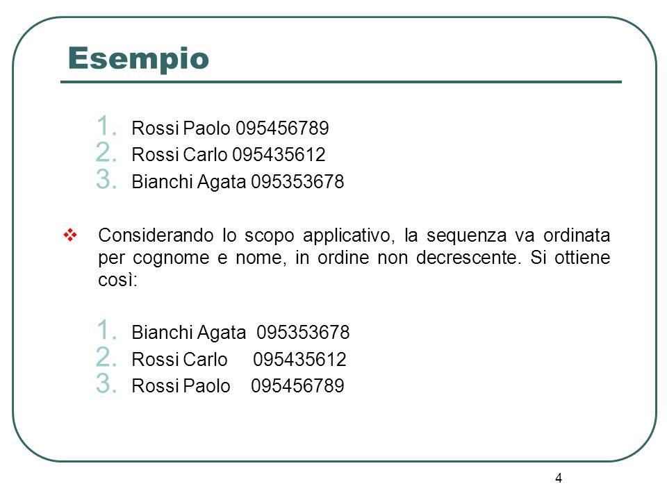 Esempio Rossi Paolo 095456789 Rossi Carlo 095435612