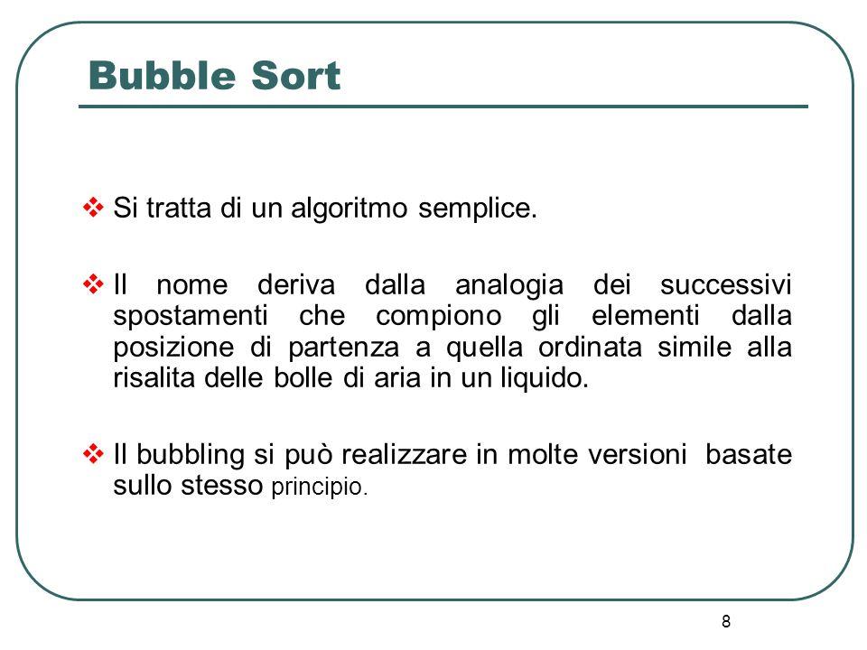 Bubble Sort Si tratta di un algoritmo semplice.