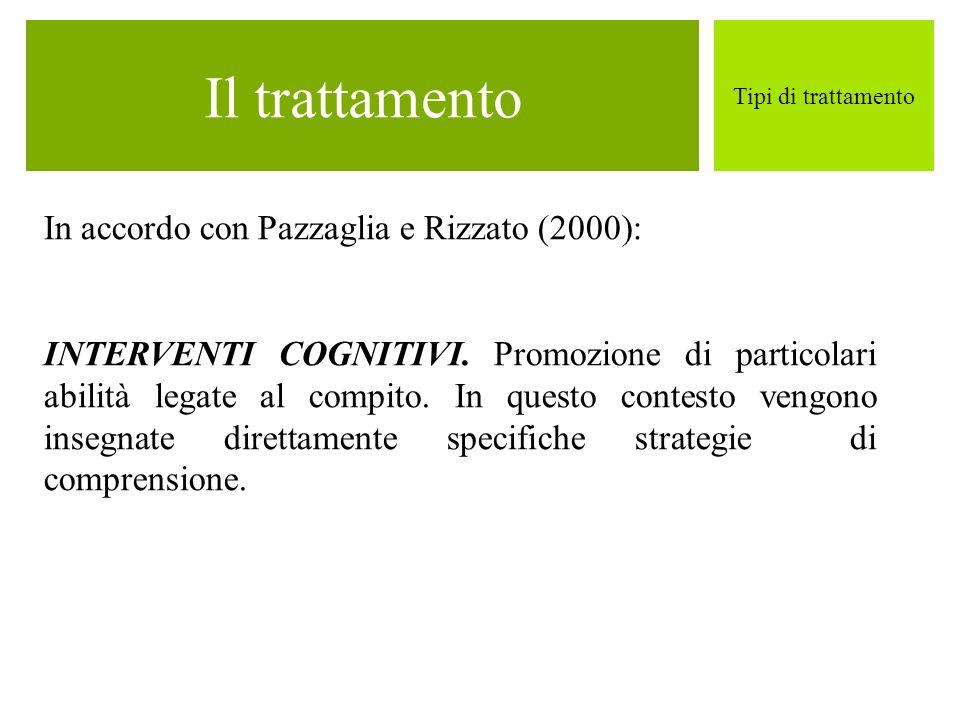 Il trattamento In accordo con Pazzaglia e Rizzato (2000):