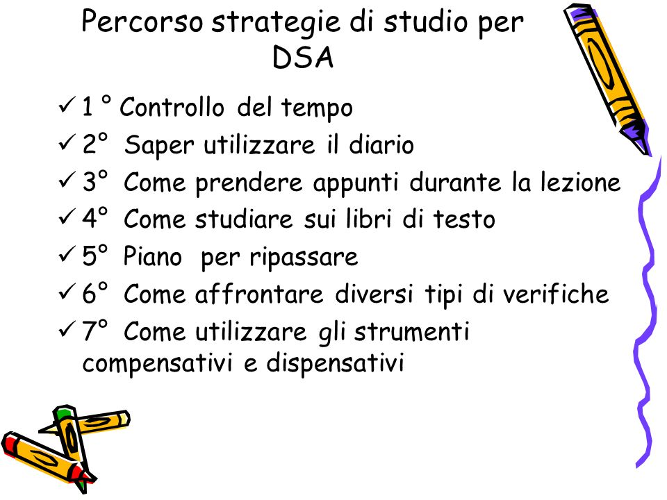 Percorso strategie di studio per DSA