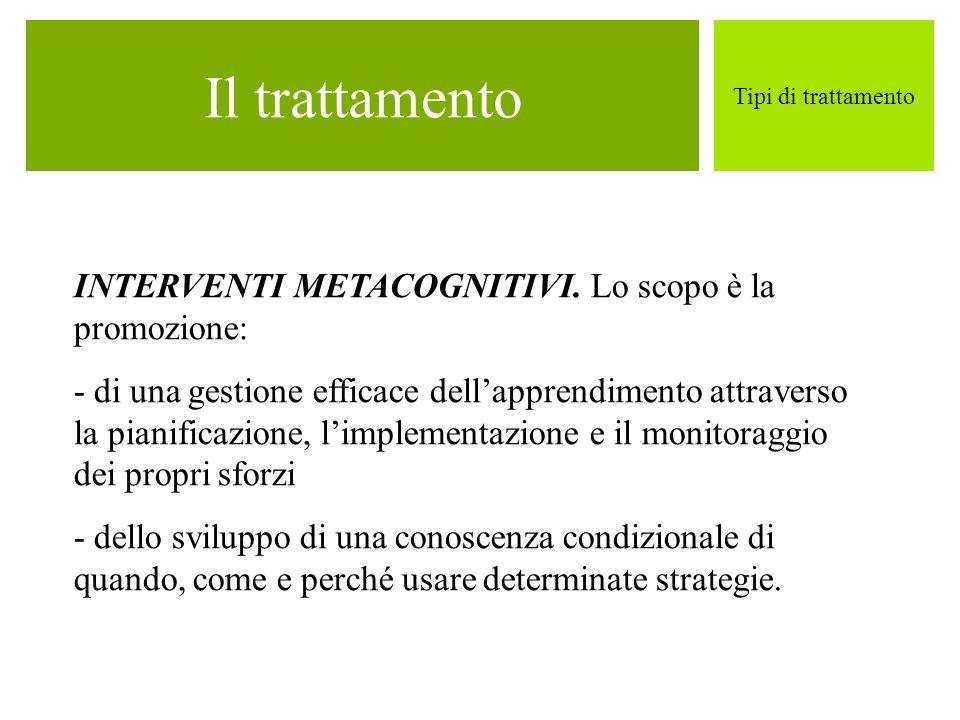 Il trattamento INTERVENTI METACOGNITIVI. Lo scopo è la promozione: