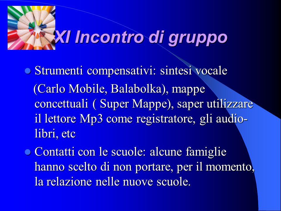 XI Incontro di gruppo Strumenti compensativi: sintesi vocale