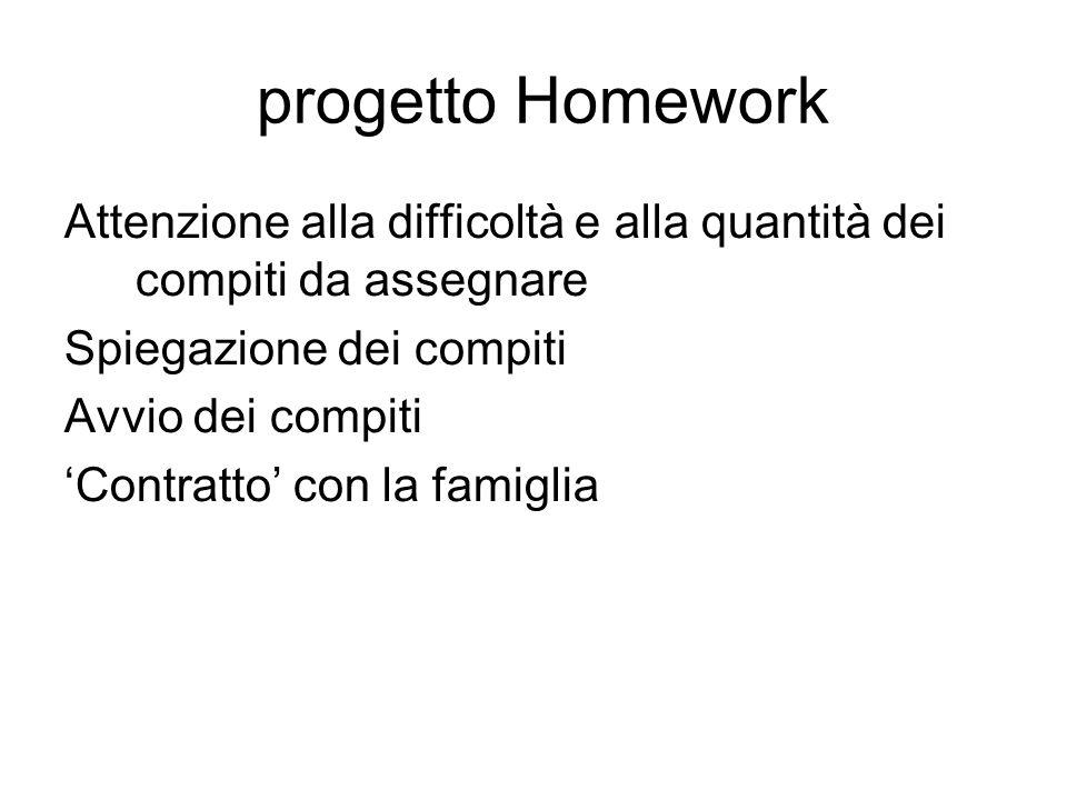 progetto Homework Attenzione alla difficoltà e alla quantità dei compiti da assegnare. Spiegazione dei compiti.