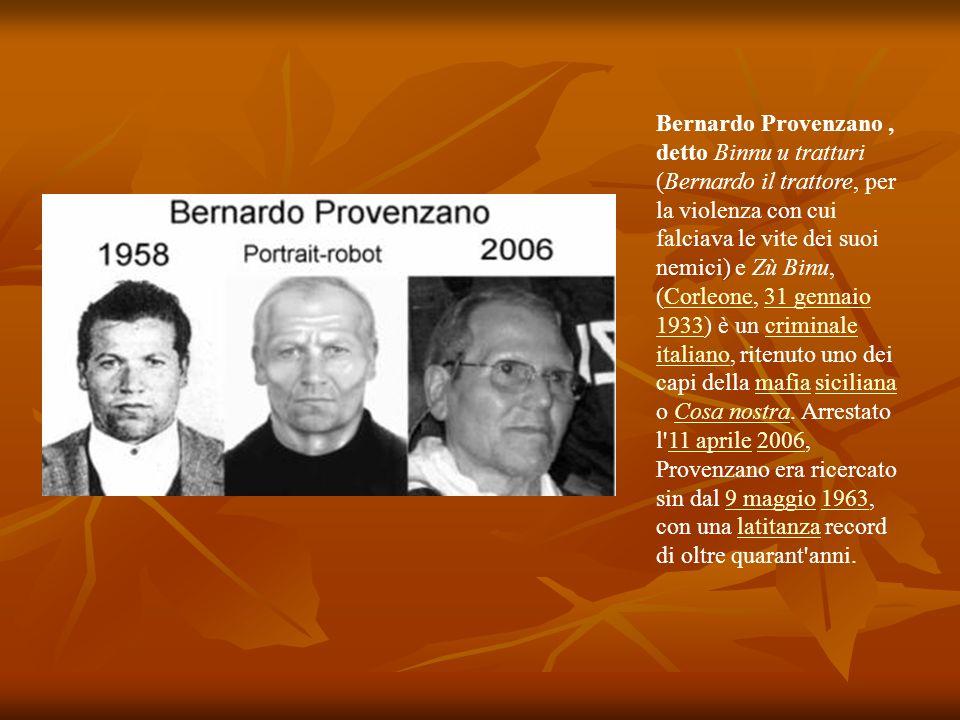 Bernardo Provenzano , detto Binnu u tratturi (Bernardo il trattore, per la violenza con cui falciava le vite dei suoi nemici) e Zù Binu, (Corleone, 31 gennaio 1933) è un criminale italiano, ritenuto uno dei capi della mafia siciliana o Cosa nostra.