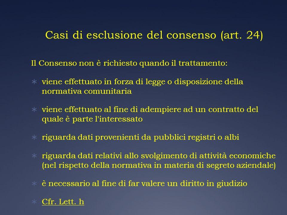 Casi di esclusione del consenso (art. 24)