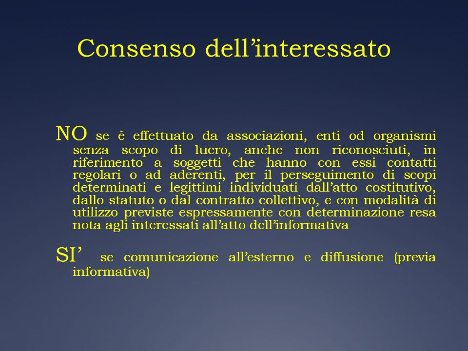Consenso dell'interessato