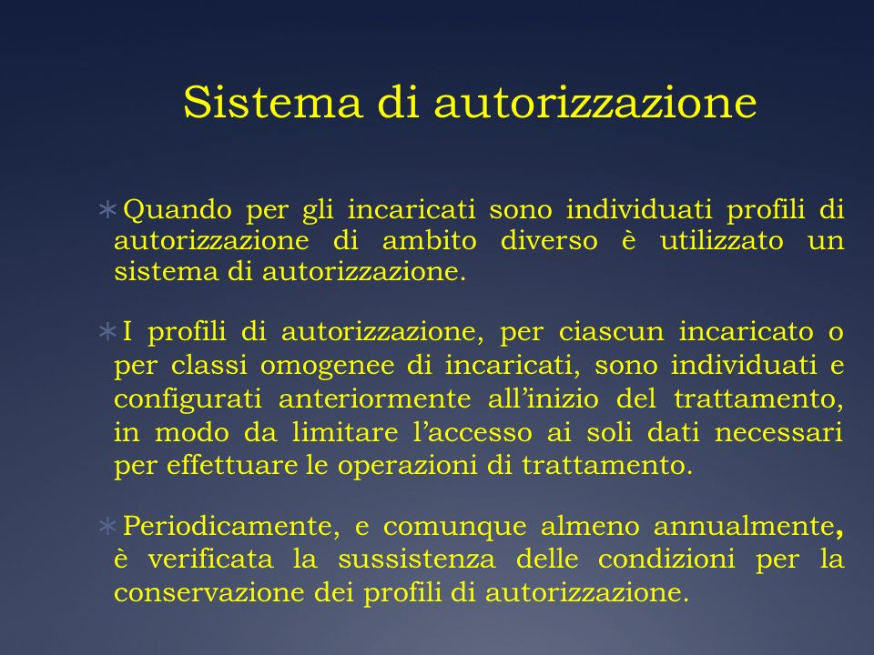 Sistema di autorizzazione