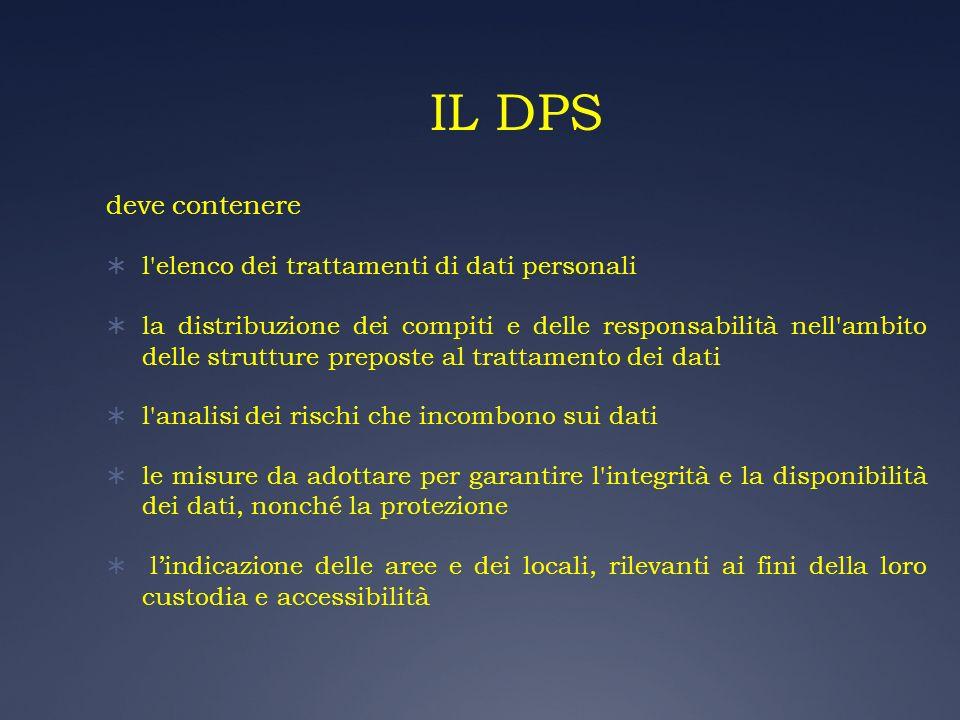 IL DPS deve contenere l elenco dei trattamenti di dati personali