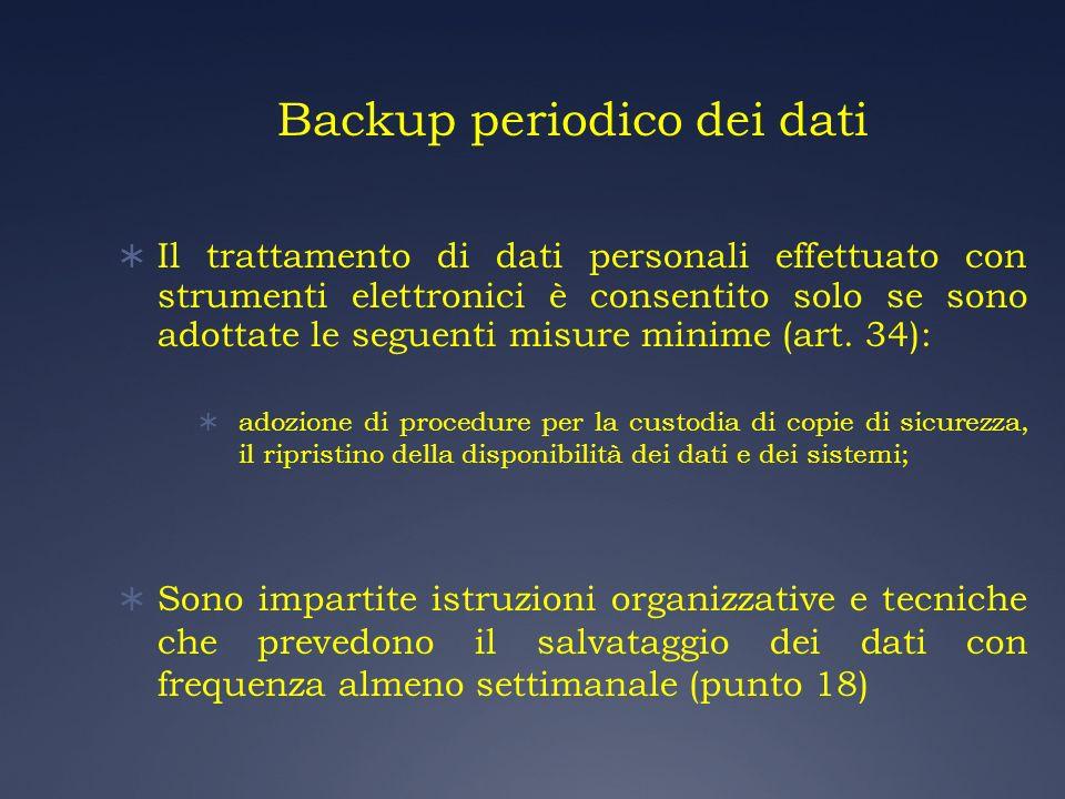 Backup periodico dei dati