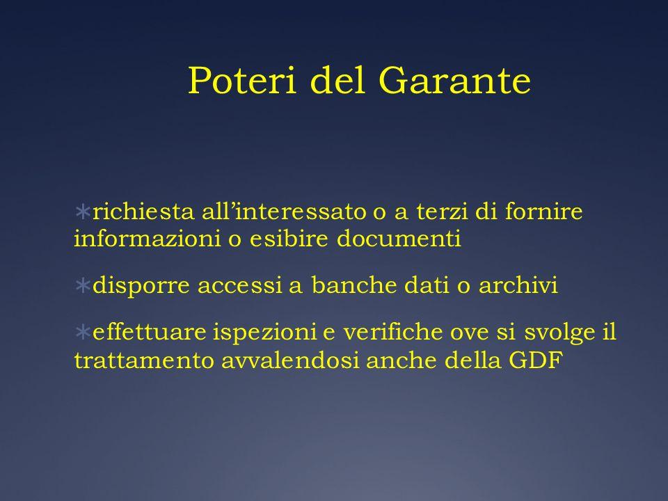 Poteri del Garante richiesta all'interessato o a terzi di fornire informazioni o esibire documenti.